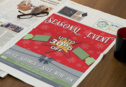 Graphic Design, Advert, Advertisement, tile and stone, christmas sale, broadstairs, kent, uk