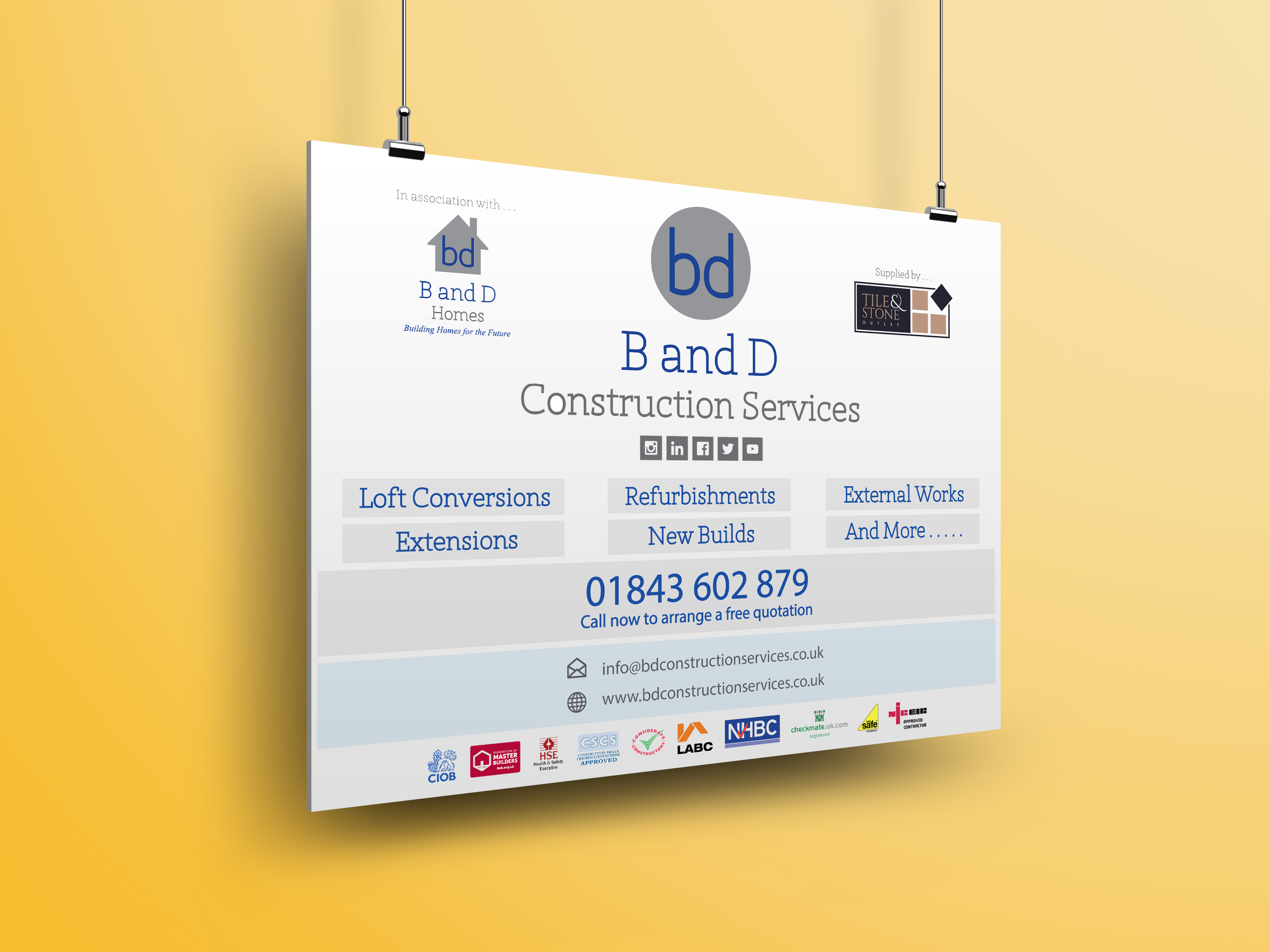 Builders Board, B and D Cosntruction Services, branding, brand image, Braodstairs, Kent, UK