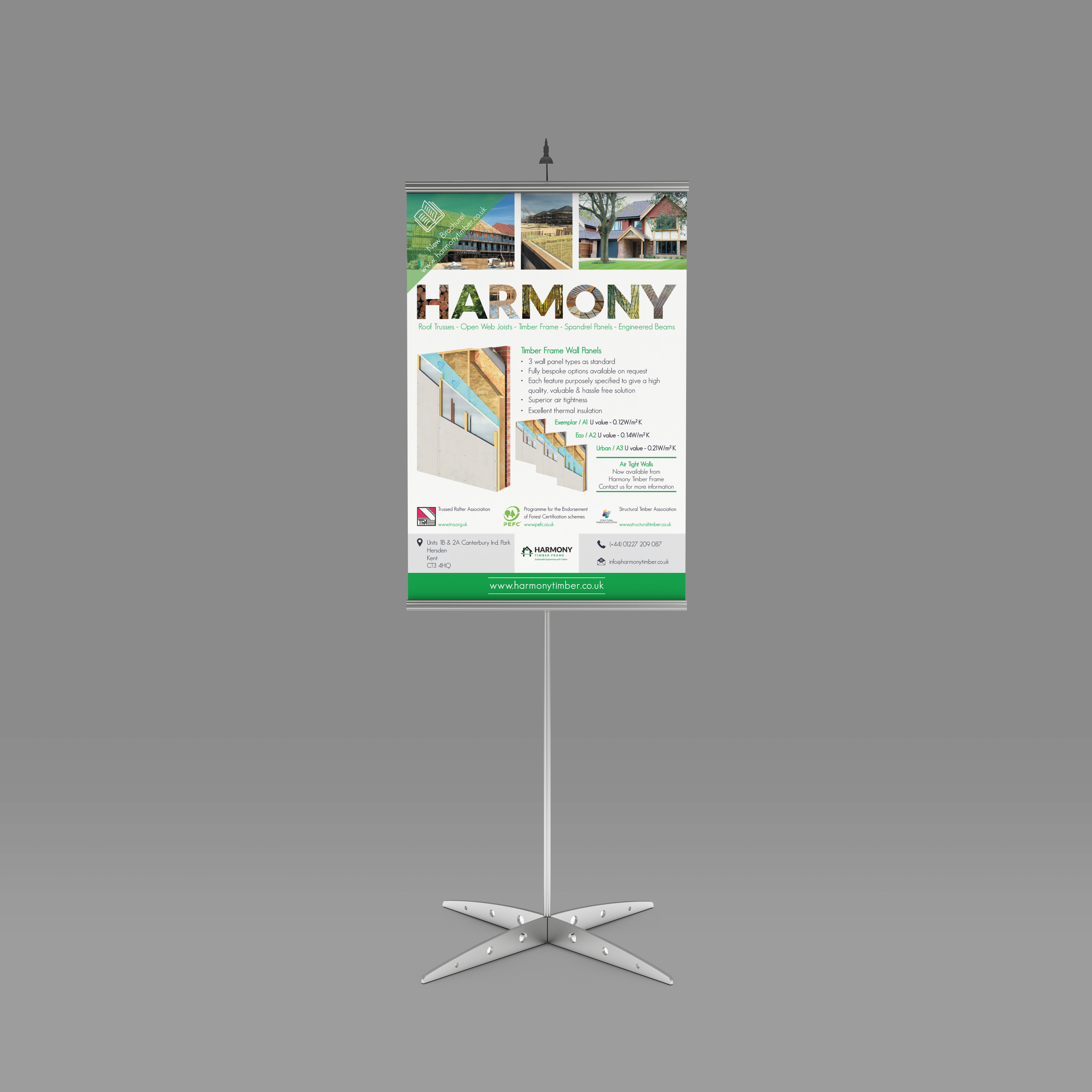 Graphic Design Poster, Harmony Timber Solutions, Exhibition, canterbury, Kent, UK