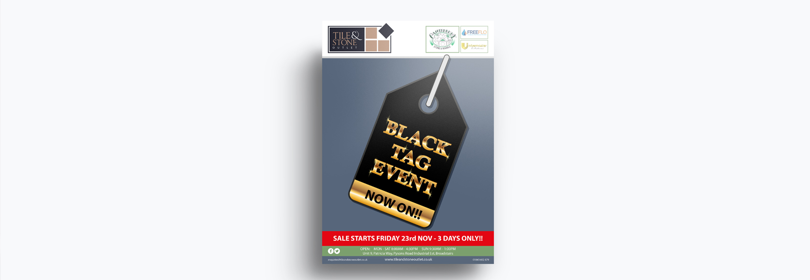 Graphic Design Banner, tile and stone, black sale, broadstairs, kent, uk